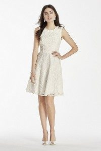 Short Lace Dress with Illusion Back Detail