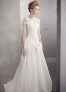 One-Shoulder Basket-Weave Organza Gown